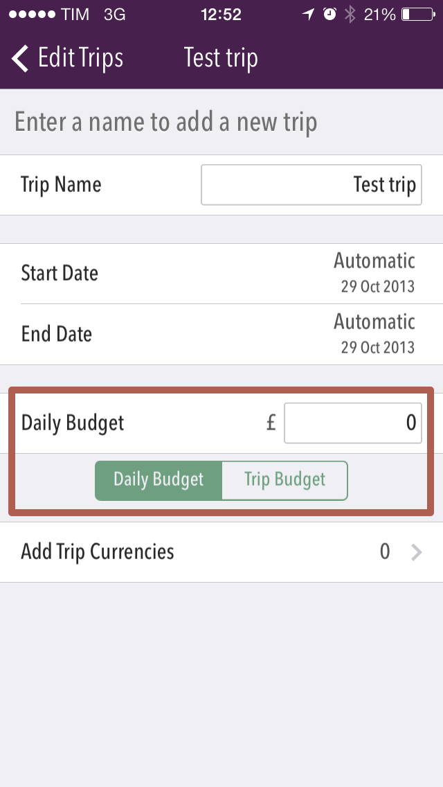 """Screenshot showing the area of the Add Trip screen where you can set your budget."""