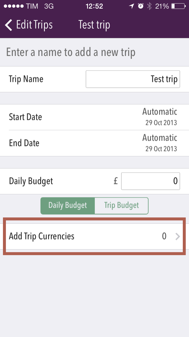 """Image showing the cell to tap to edit trip currencies"""