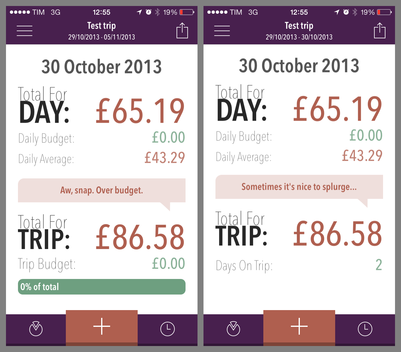 Image showing the difference between the two summary screens, depending on what kind of date calculations you have set