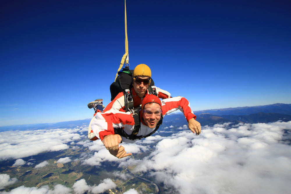 """Andrew skydiving in New Zealand."""