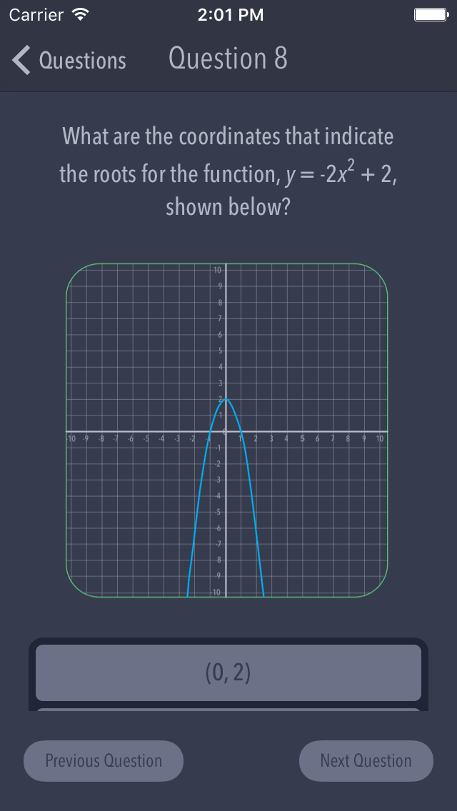 A screenshot showing an example question from the WTMaths app