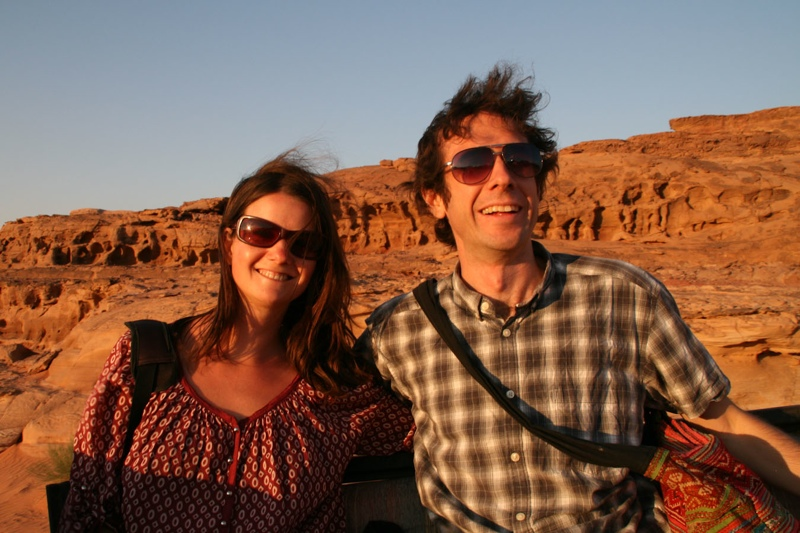 A picture of Simon Fairbairn and Erin McNeaney of Voyage Travel Apps at Wadi Rum in Jordan